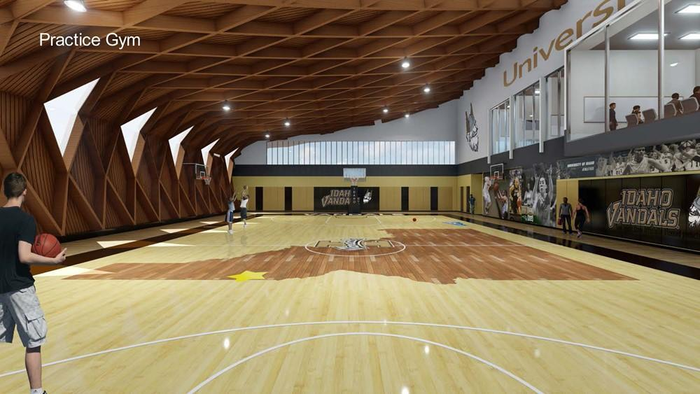 The New Mass Timber Basketball Arena Will Have A Stunning Practice Court.  Architectu0027s Rendering: Opsis Architecture