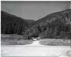 Goat Creek above the mouth of the Thompson River, Montana. Gruell struggled to identify this location because the original image was somehow printed in reverse. Date: 1928 Credit: WC Alden (USGS) Archived at the Mansfield Library at the University of Montana