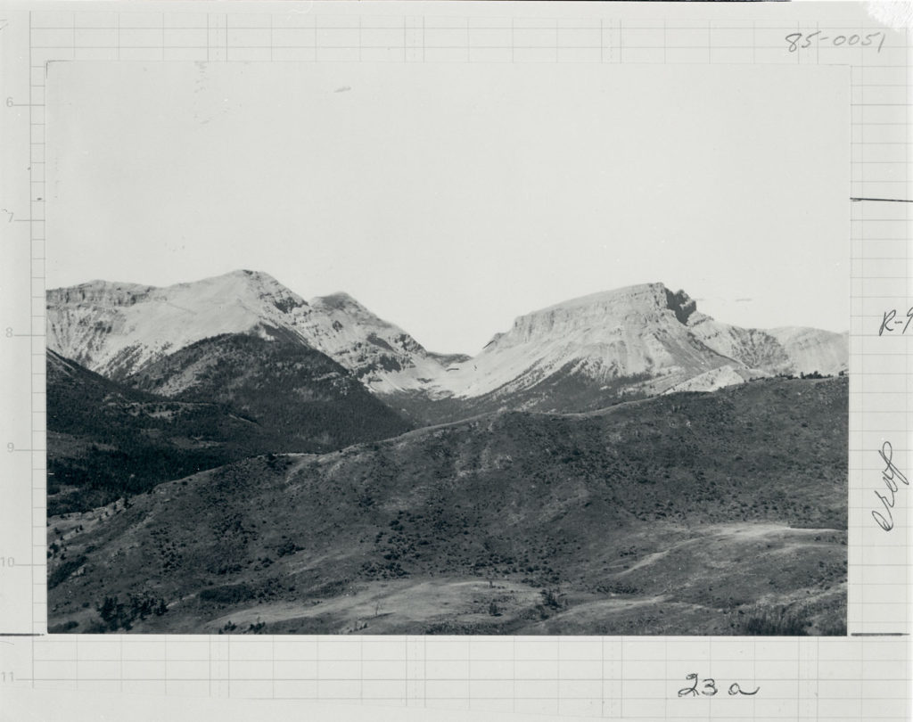 Crown mountain viewed from across Smith Creek in Lewis and Clark National Forest, Montana. Date: 1900 Credit: Charles D. Walcott (USGS) Archived at the Mansfield Library at the University of Montana