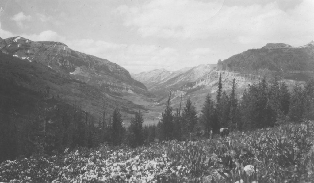 Looking northwest into Granite Canyon from the moraine along Jack Pine Creek, 1911. Date: 07/10/1911 Credit: Elliot Blackwelder, Archived at the University of Wyoming American Heritage Center