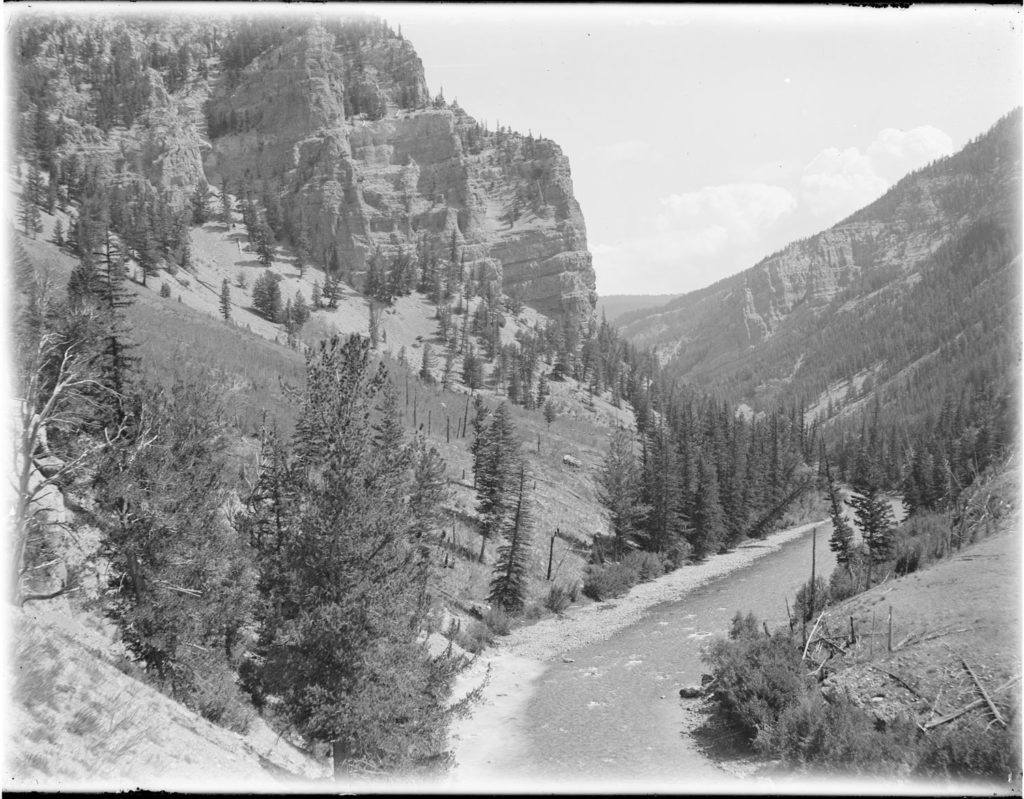 Hoback River Canyon from near Stinking Springs. Date: Around 1900 Credit: Stephen N. Leek Date: Around 1900 Credit: Stephen N. Leek, Archived at the University of Wyoming American Heritage Center