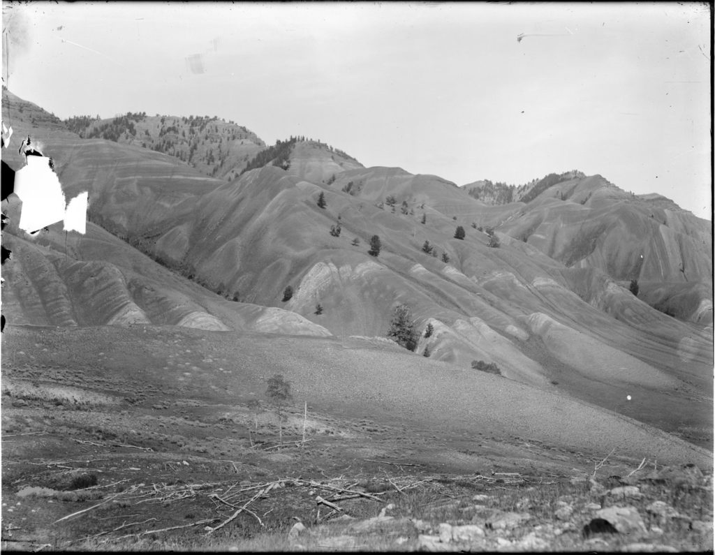 Red Hills anticline from Russold Hill, circa 1900. Date: Around 1900 Credit: Stephen Leek, Archived at the University of Wyoming American Heritage Center