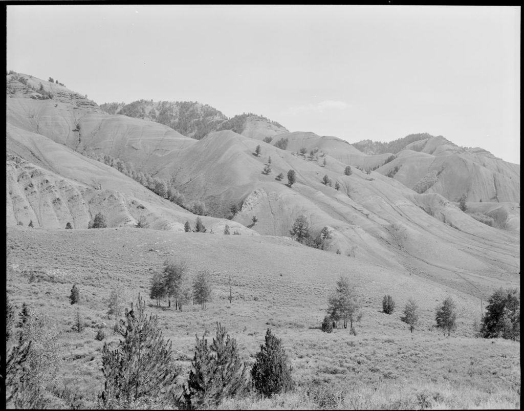 Red Hills anticline from Russold Hill, 1970. Date: 09/21/1970 Credit: George Gruell (USFS), Bridger-Teton National Forest