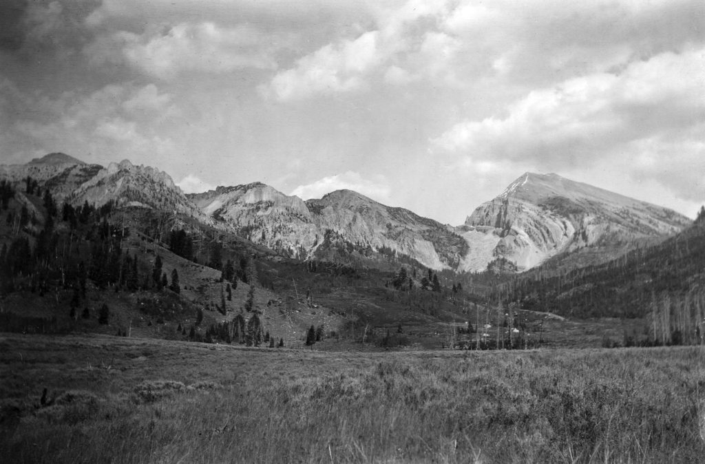 A view of peak 11095 from near Granite Creek, Wyoming. Snag trees indicate a recent forest fire in the foothills. Date: 07/1906 Credit: Alfred Shultz (USGS), U.S. Geological Survey