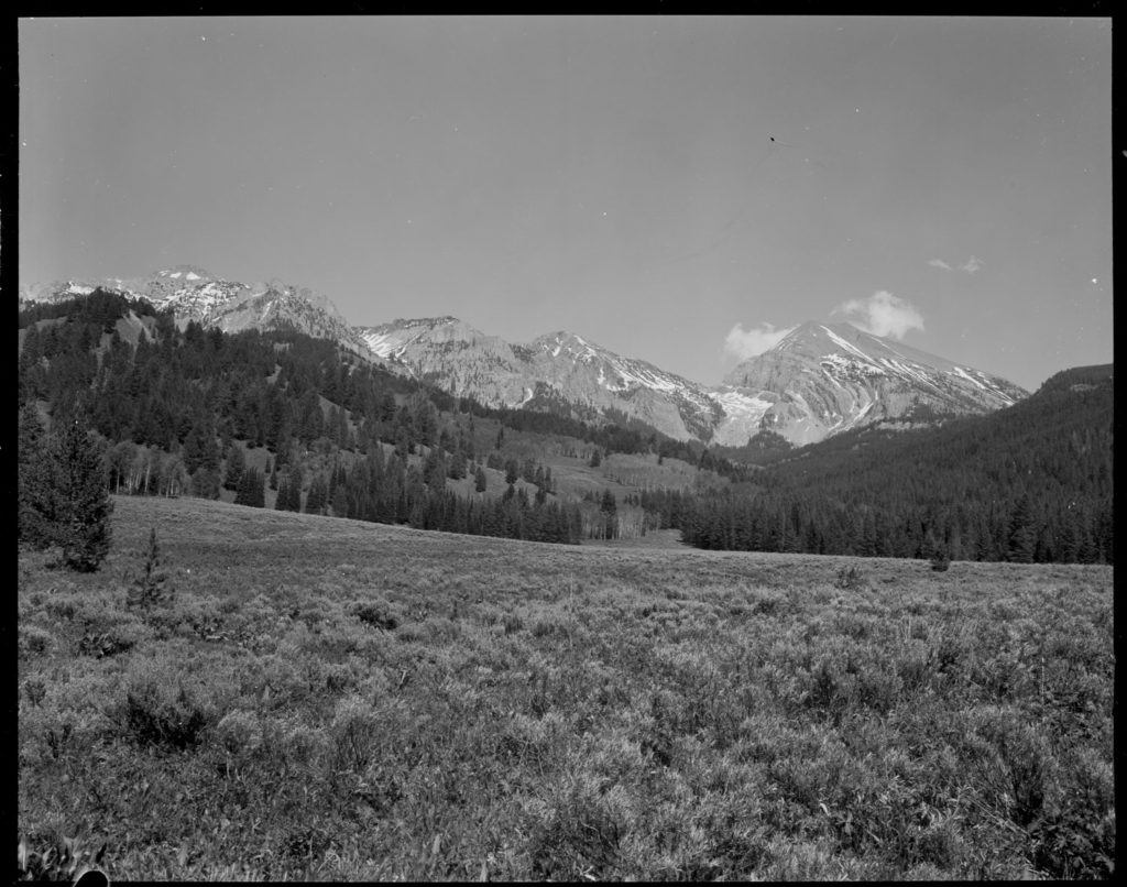 By 1968 pines, firs and aspen have regenerated on the previously burned hills. sagebrush covers the foreground. Date: 09/10/1970 Credit: George Gruell (USFS), Bridger-Teton National Forest
