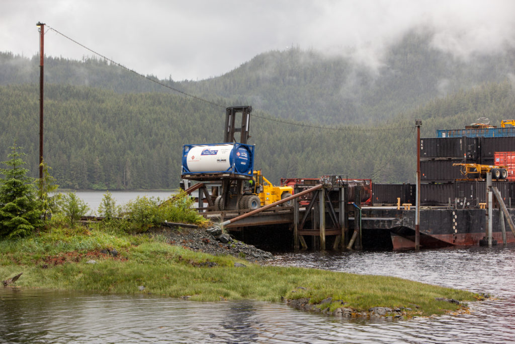 A forklift unloads propane from a barge on Prince of Wales Island.