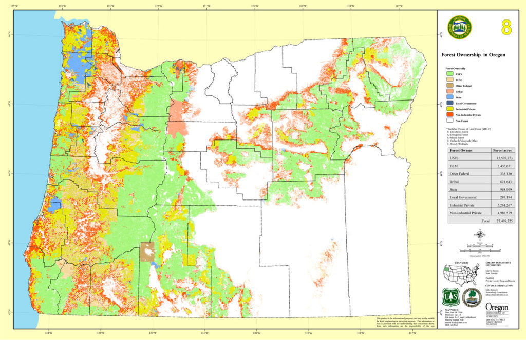 Map of Forest Ownership in Oregon
